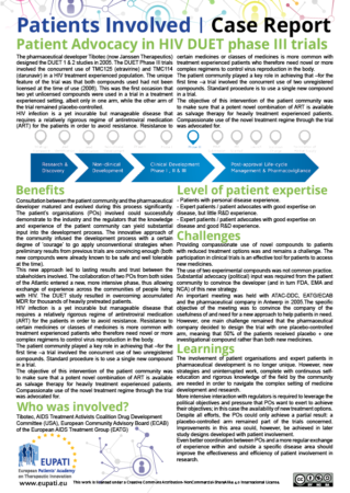 A screenshot of a sample Patients Involved Case Report. Patients Involved Case Reports will describe which partners were involved in a collaboration, details of the collaboration, what challenges were faced, what benefits the collaboration brought, and what we can learn for the future.