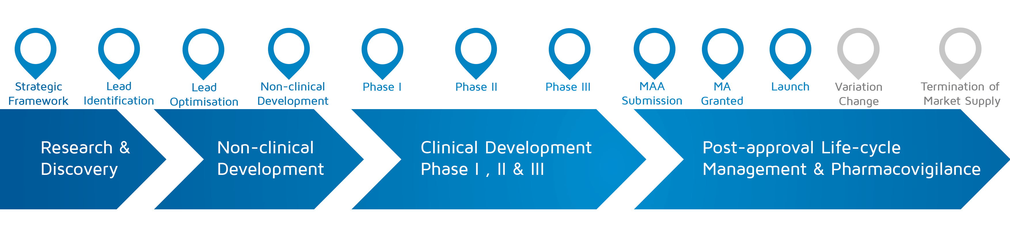 A visual representation of in which phase of medicines research and development process an activity takes place with strategic framework to Launch highlighted.