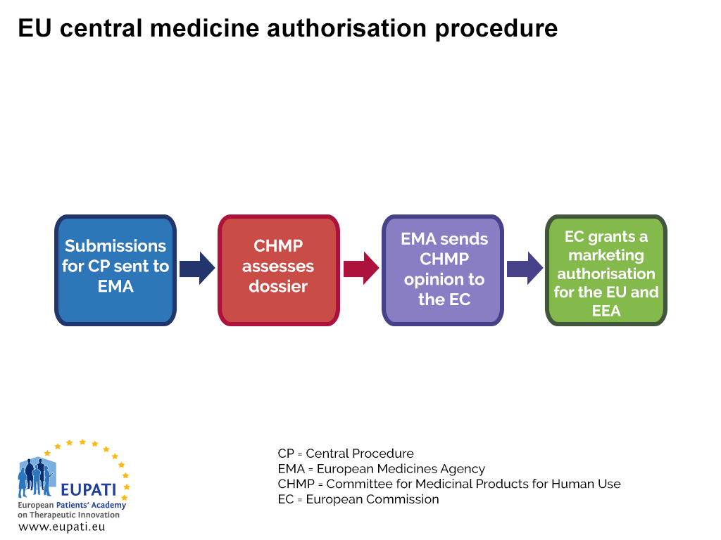 A diagram showing the centralised procedure to authorise a medicine in all EU and EEA countries.