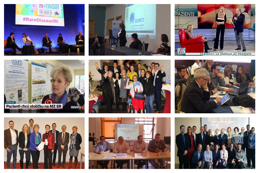 From left to right: Row 1: EUPATI Ireland at Rare Disease Day 2016, EUPATI UK at Northern Ireland Rare Disease Partnership Conference in February 2016, EUPATI Italy on popular morning TV show 'Elisir' in February 2016. Row 2: EUPATI Slovakia on national TV celebrating its launch in February 2016, EUPATI Switzerland leaders raising awareness in February 2016, EUPATI Italy organising a two-day conference to discover the EUPATI Toolbox in April 2016, Row 3: EUPATI Austria signing an Memorandum of Understanding with the Austrian Medicines Agency (AGES) in February 2016, EUPATI Spain presenting at the Spanish Society of General Medicines' (SEMERGEN) Congress for Chronic Patients in April 2016, EUPATI Poland meeting for the first time in March 2016.